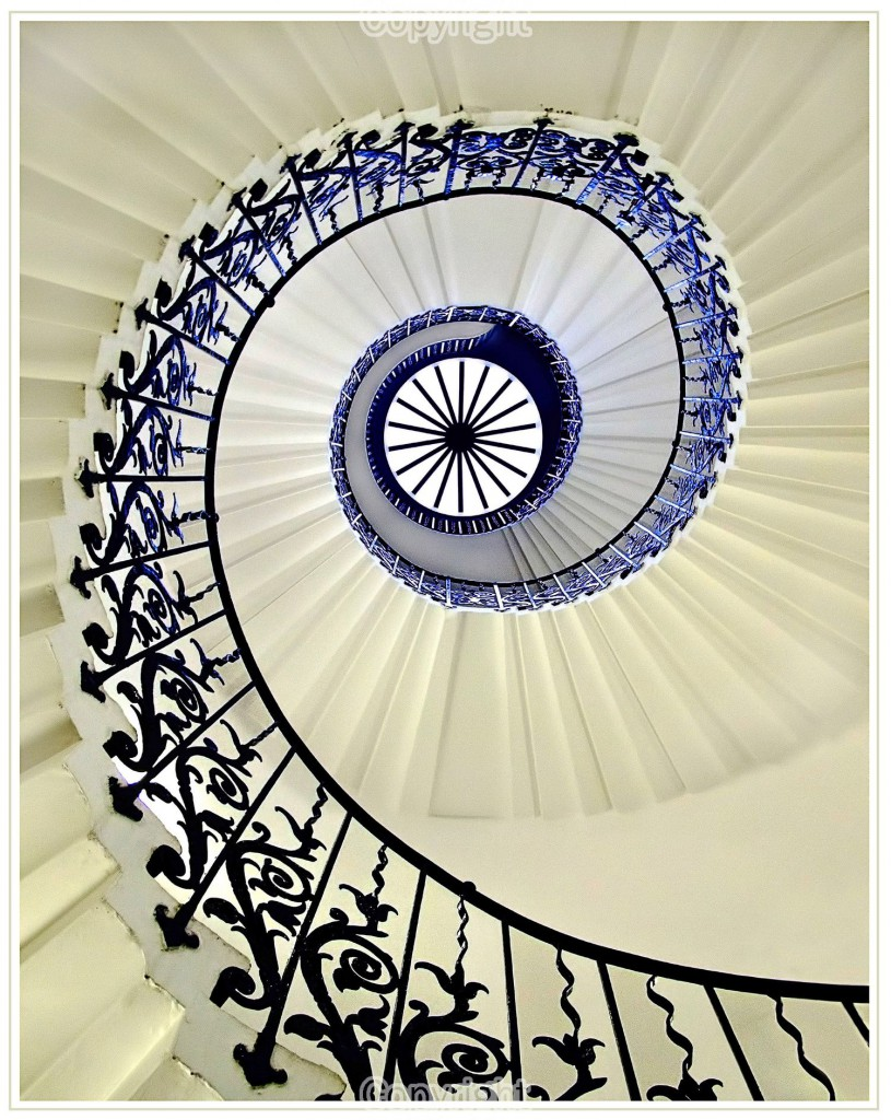 Taken whilst on holiday in London. Visiting the Queens House at Greenwich, as we were about to go down the stairs,looked up and saw what I thought would make a good perspective image.
