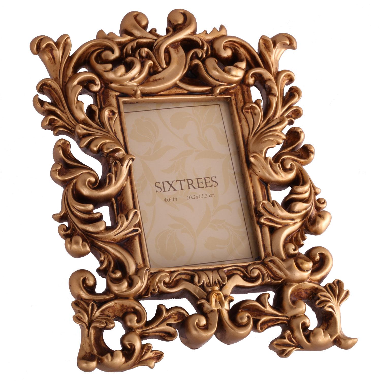 sixtrees brooke antique gold 6x4 photo frame photo. Black Bedroom Furniture Sets. Home Design Ideas