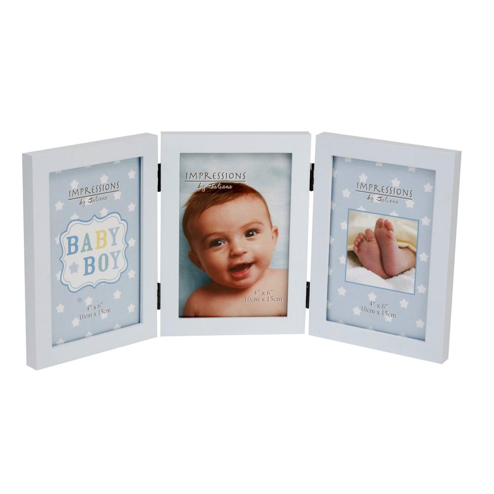 baby boy blue triple 6x4 photo frame photo frames. Black Bedroom Furniture Sets. Home Design Ideas