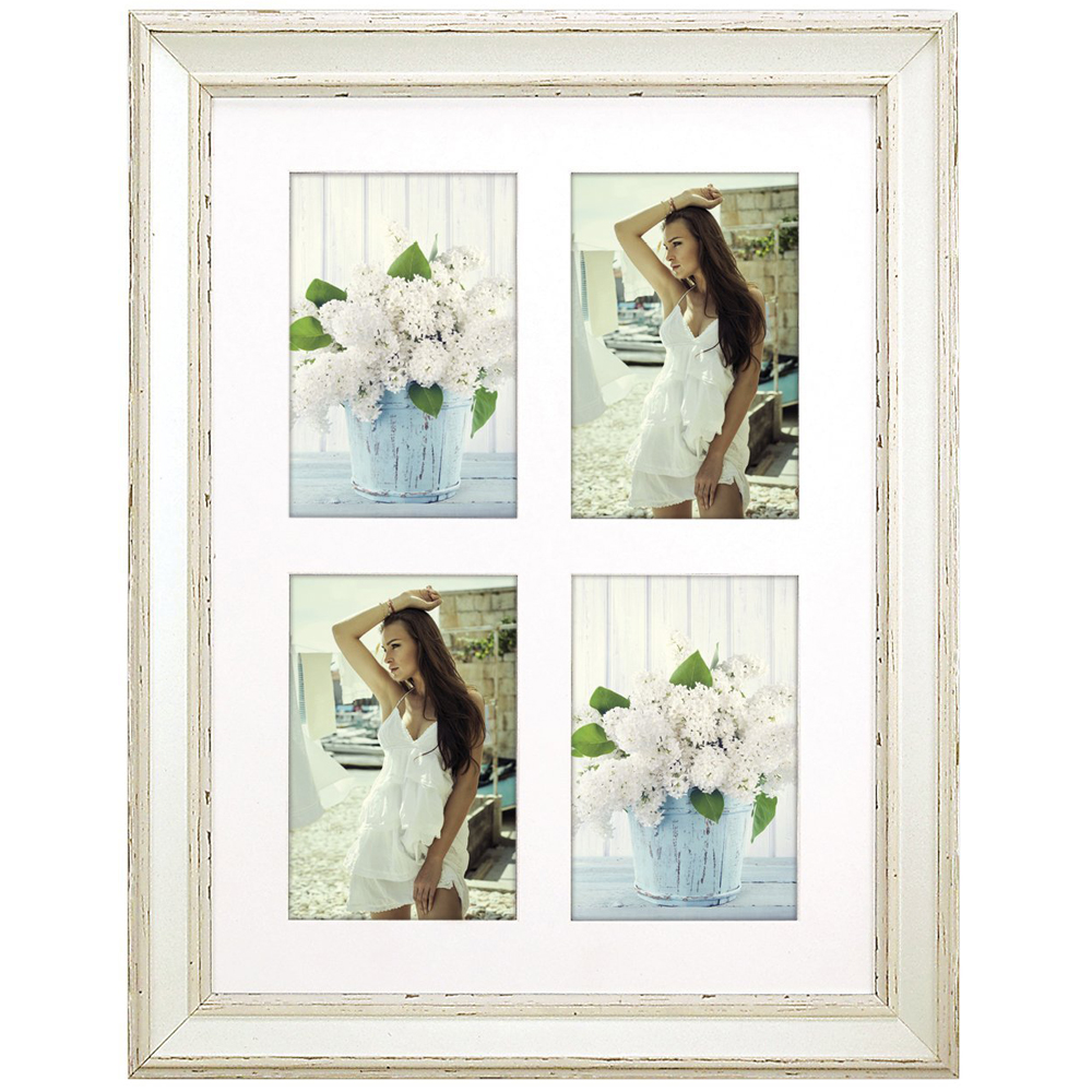 bourges multi aperture cream photo frame for 4 6x4 photos. Black Bedroom Furniture Sets. Home Design Ideas