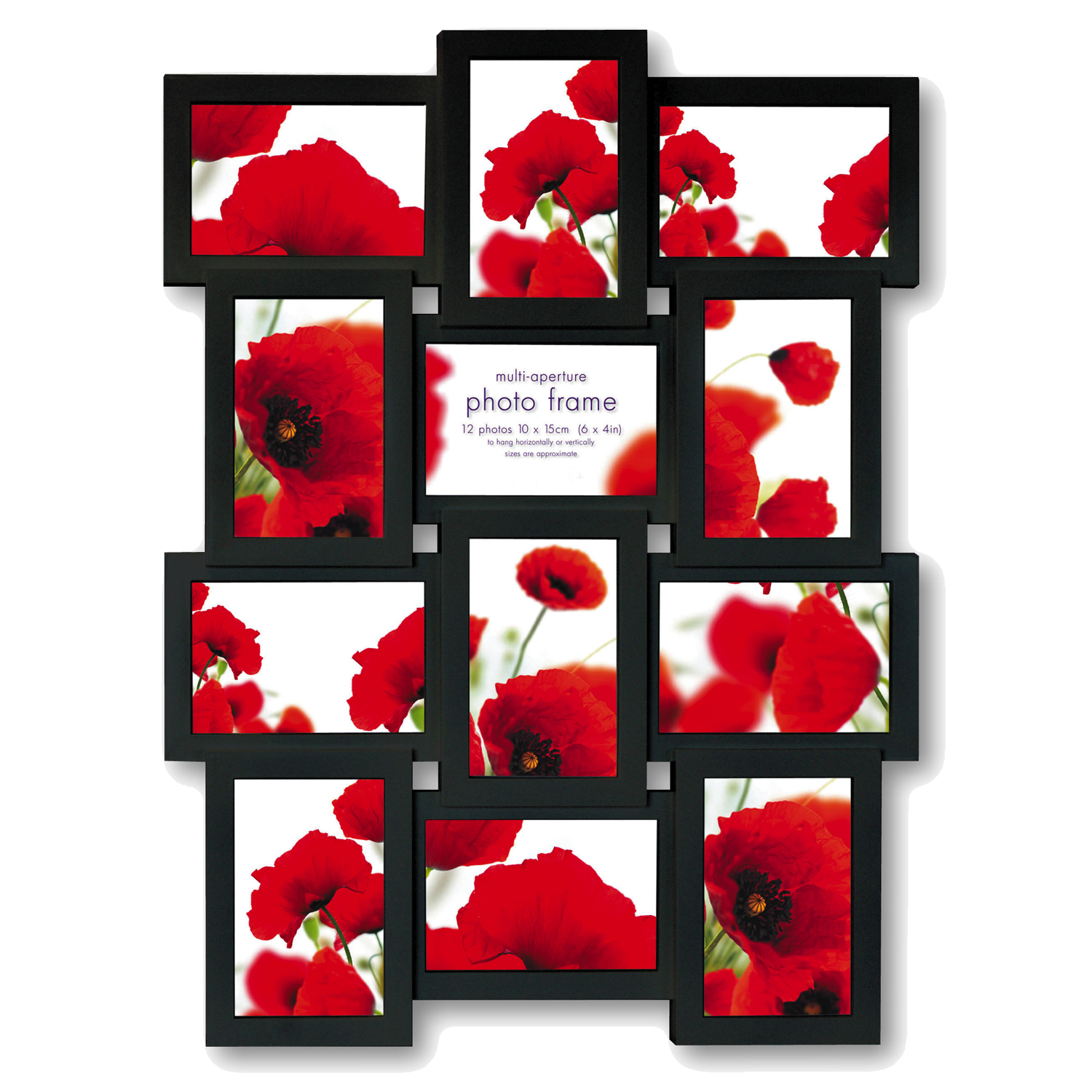 Extra Large Multi Aperture Black Photo Frame For 12 6x4