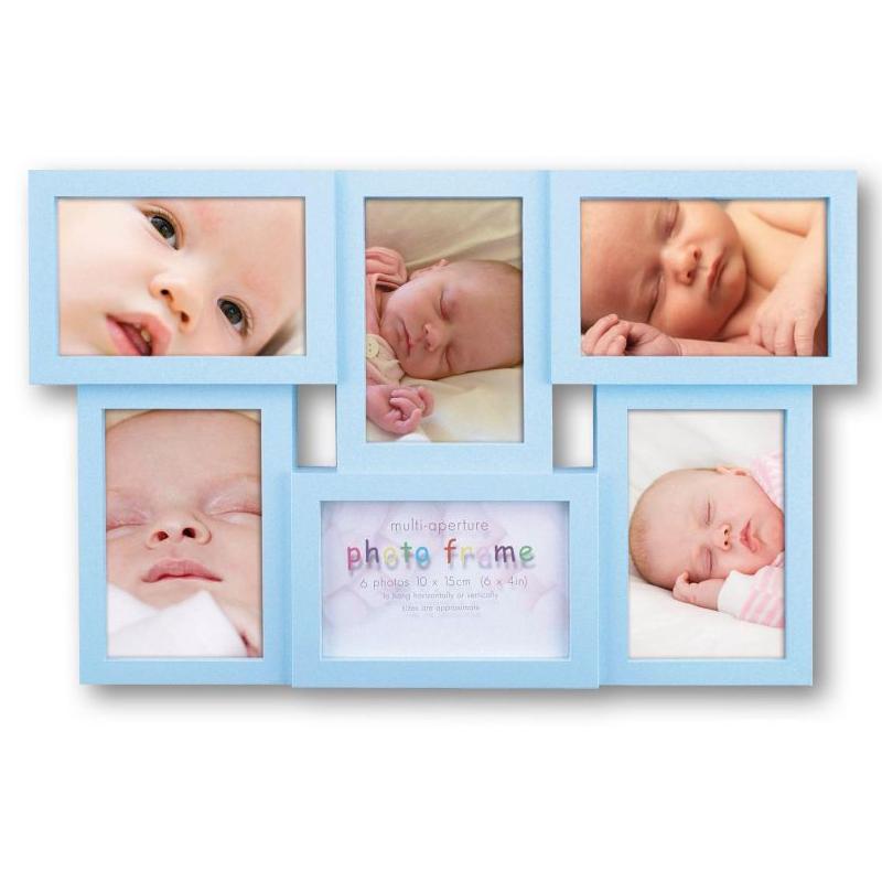 blue multi aperture 6x4 photo frame for 6 photos photo. Black Bedroom Furniture Sets. Home Design Ideas
