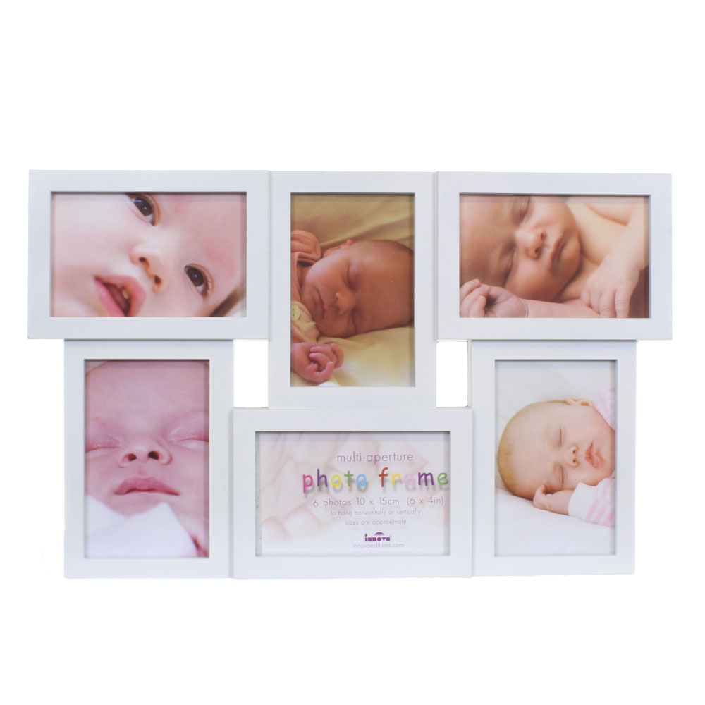 white multi aperture 6x4 photo frame for 6 photos photo. Black Bedroom Furniture Sets. Home Design Ideas