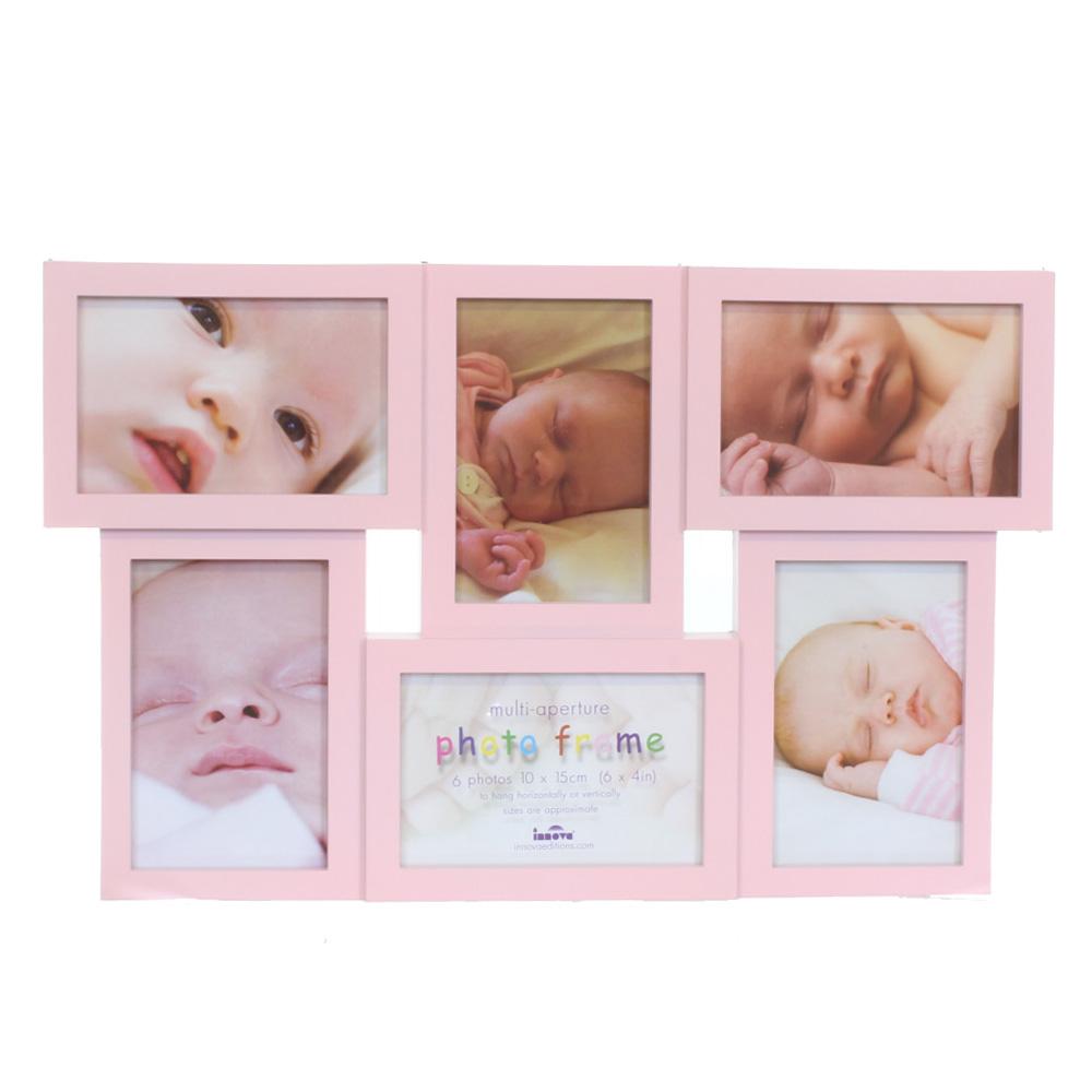 pink multi aperture 6x4 photo frame for 6 6x4 photos. Black Bedroom Furniture Sets. Home Design Ideas