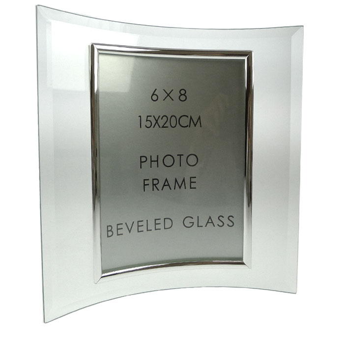 Sixtrees Curved Bevelled Glass Silver 8x6 Photo Frame