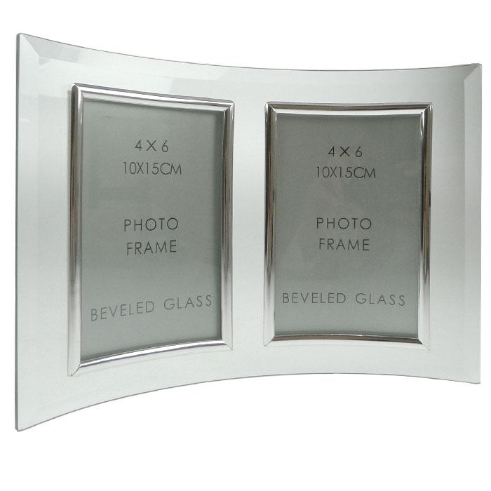 curved bevelled glass silver 6x4 photo frame double. Black Bedroom Furniture Sets. Home Design Ideas