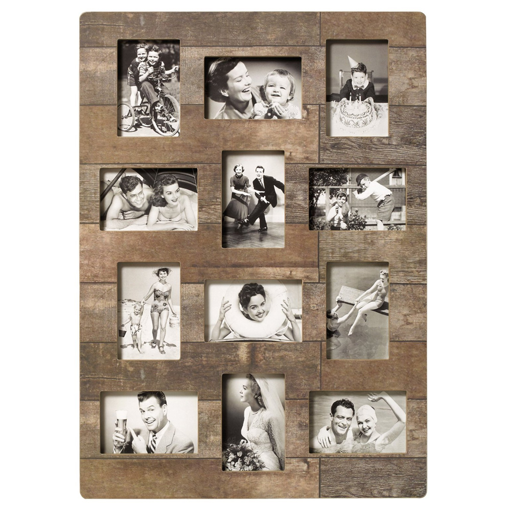 walther kerry multi aperture brown wood frame for 12 6x4 photos photo frames albums frames. Black Bedroom Furniture Sets. Home Design Ideas