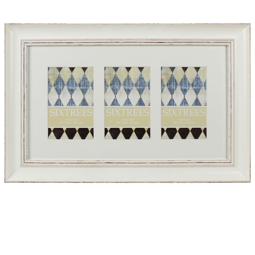sixtrees shabby chic blanc triple 6x4 photo frame photo. Black Bedroom Furniture Sets. Home Design Ideas
