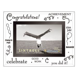 Sixtrees Congratulations Glass and Mirror 6x4 Photo Frame