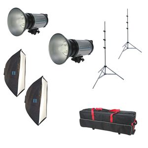 Dorr DE 250 Studio Flash Kit Inc 2x 250Ws Flash Heads 2x Softbox 2x Light Stands