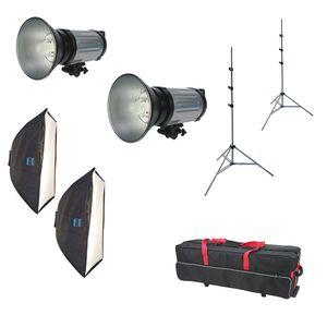 Dorr DE 500 Studio Flash Kit Inc 2x 500Ws Flash Heads 2x Softboxes 2x Light Stands