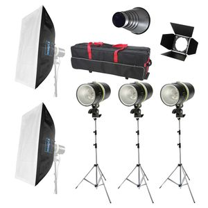 Dorr Complete 160W Studio Kit - 3 Heads and Stands - 2 Softboxes and Carry Case