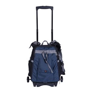 Dorr Dark Blue Travel Small Trolley Backpack with Wheels