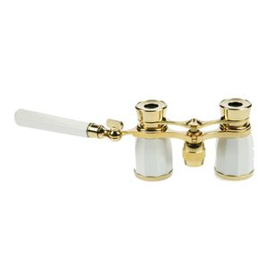 Danubia Opera 3x25mm Pearl and Gold Binoculars with Handle