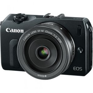 Canon EOS M Black Digital Camera with 22mm f/2 STM lens and EF Adapter