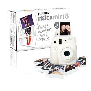 Fujifilm White Instax Mini 8 Instant Camera Inc 10 Shots