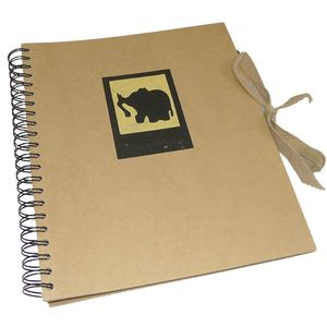 Green Earth Black Elephant Spiral Photo Album - 40 Sides
