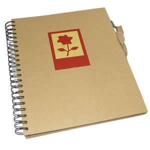Green Earth Red Flower Spiral Photo Album - 40 Sides
