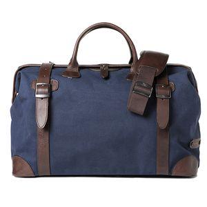 Barber Shop Quiff Blue Canvas & Dark Brown Leather Traveler Shoulder Bag