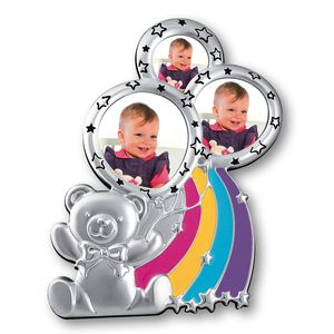 Alice Silver Plated Tebby Bear Triple Baby Photo Frame