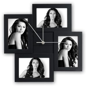 Zep Messina Black Multi Aperture Photo Frame and Clock for 4