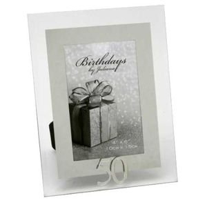 50th Birthday Glass and Mirror 6x4 Photo Frame