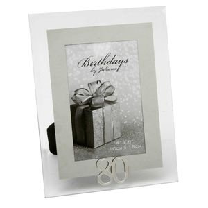 80th Birthday Glass and Mirror 6x4 Photo Frame