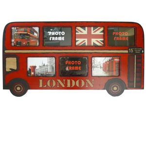 Big Red London Bus Wood Photo Frame for 7 Photos