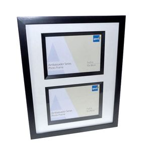 Ambassador Black Wood Double 7x5 Photo Frame