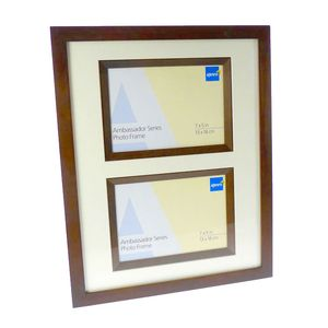 Ambassador Dark Oak Wood Double 7x5 Photo Frame