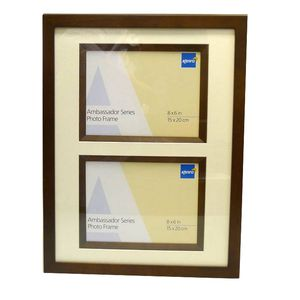 Ambassador Dark Oak Wood Double 8x6 Photo Frame