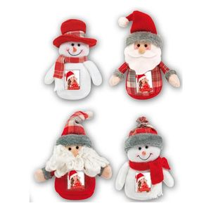 Father Christmas & Snowman Photo Holder Decoration
