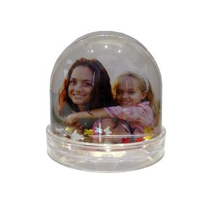 Photo Globe with Red Gold and Silver Butterflies