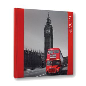 Iconic City London Traditional Red Photo Album - 30 Sides