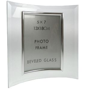 Sixtrees Curved Bevelled Glass Silver 7x5 Photo Frame Vertical
