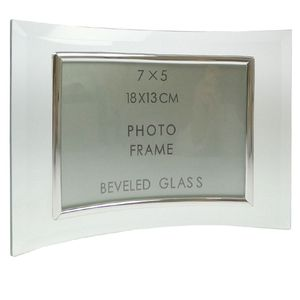 Sixtrees Curved Bevelled Glass Silver 7x5 Photo Frame Horizontal