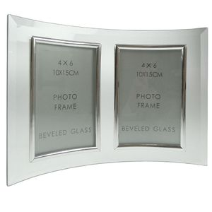 Curved Bevelled Glass Silver 6x4 Photo Frame Double Vertical