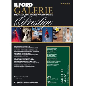 Ilford Galerie Prestige Smooth Gloss Paper 310gsm A4 - 25 Sheets