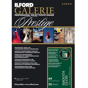 Ilford Galerie Prestige Smooth High Gloss Paper 215gsm A4 - 25 Sheets