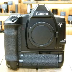Used Canon EOS 3 35mm SLR Film Camera Body with PB-E2 Booster fitted