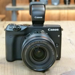 Used Canon EOS M3 Black Camera with 18-55mm IS STM Lens and EVF-DC1 Viewfinder