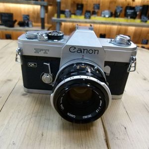 Used Canon FT 35mm Film SLR with 50mm F1.8 FL Lens