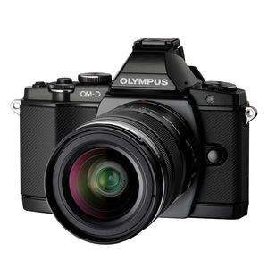 Olympus OM-D E-M5 Black Digital Camera,12-50mm Lens, FL-LM2 Flash