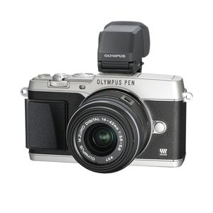 Olympus PEN E-P5 Silver Digital Camera with 14-42mm Lens & VF-4
