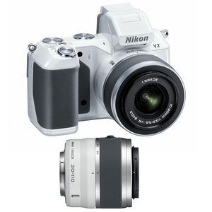 Nikon 1 V2 White Digital Camera with 10-30mm and 30-110mm Lens Kit
