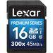 Lexar 16GB Premium Series SDHC UHS-I 300x Class 10 Memory Card