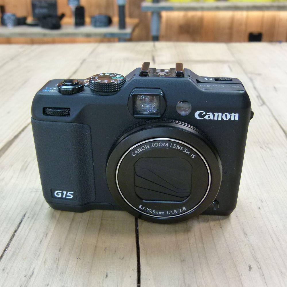 used canon powershot g15 black digital camera used cameras used harrison cameras. Black Bedroom Furniture Sets. Home Design Ideas